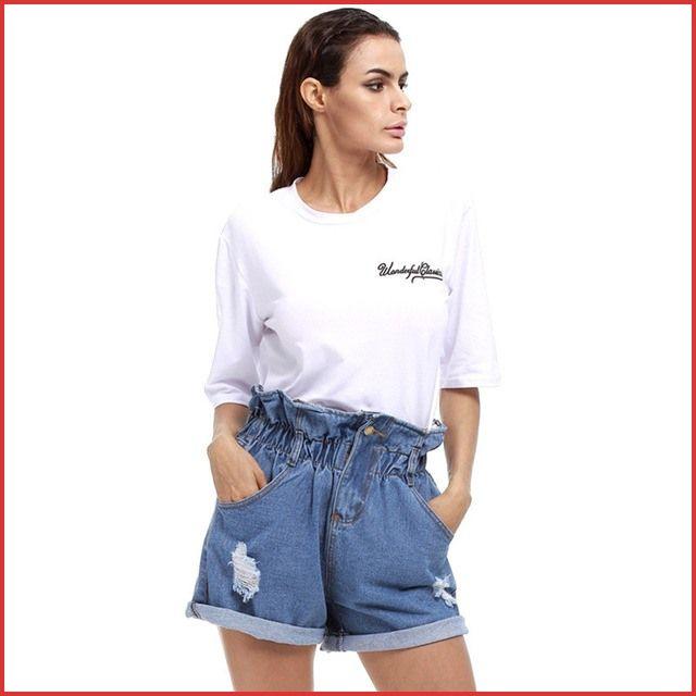 50er Jahre Shorts 162984 Helisopus Damen Sommer Kurze Jeans Plus Size High Waist Shorts