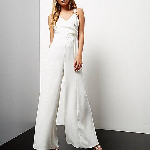 Witte gedrapeerde jumpsuit met wijde pijpen - jumpsuits - playsuits/jumpsuits - dames