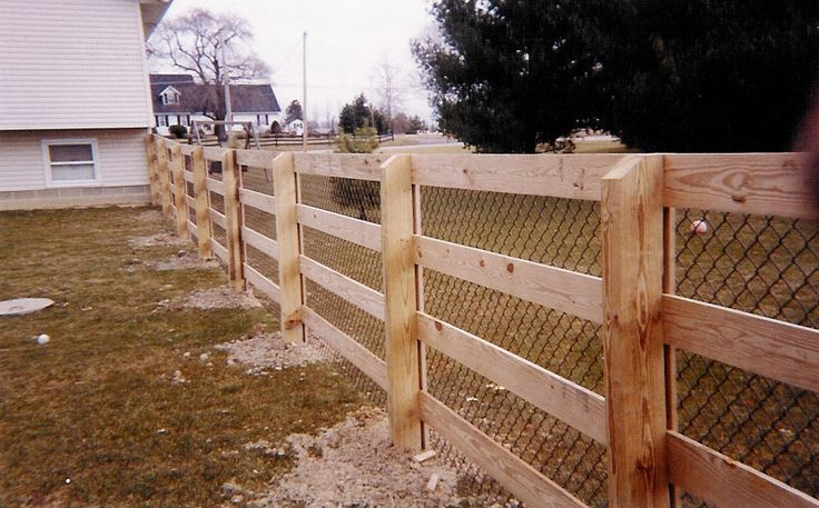 chain link fence with wood posts - Google Search ...
