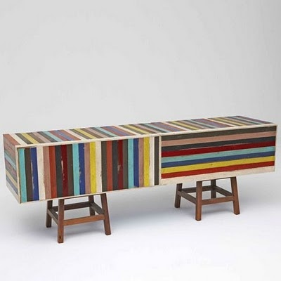 Brazilian Designer Brunno Jahara Of Jahara Studio Created This Beautiful  Collection Of Furniture Made Of Brightly Colored Discarded Scrap Wood  Strips.