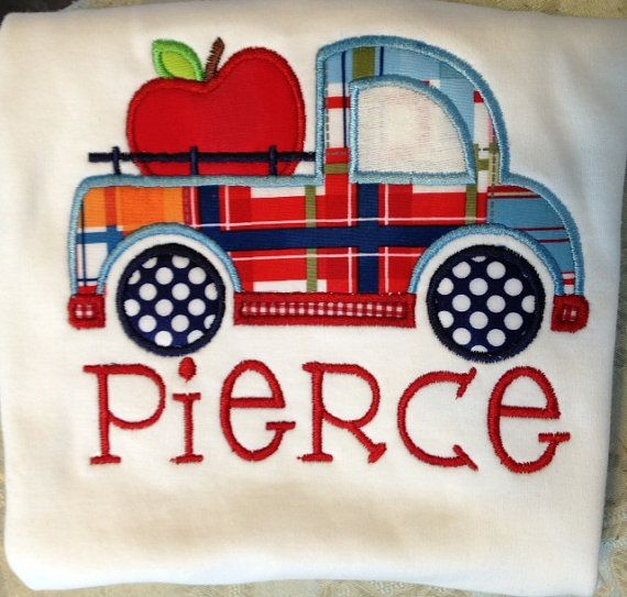 Apple Truck Personalized Back to school Applique shirt monogrammed