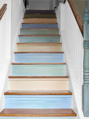 I almost wish I had stairs in my home so I could paint my risers alternating pastel colors. Lovely.