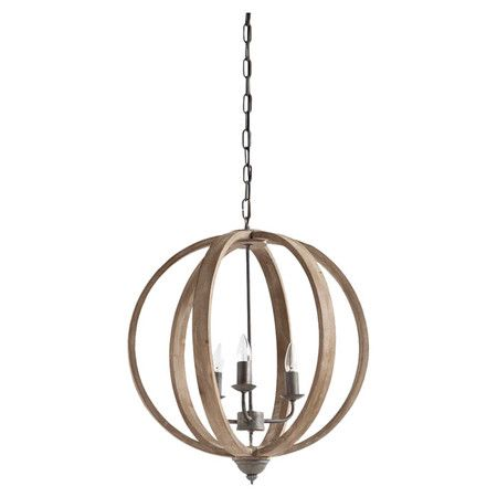 Pairing timeless style with arcadian appeal, this eye-catching pendant showcases an open fir wood shade and candle-style lights.   P...
