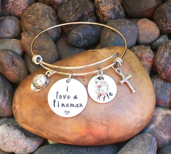 I Love A Lineman Bracelet Lineman Jewelry by SecretHillStudio
