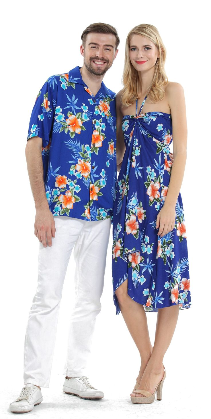 Couple Matching Hawaiian Luau Cruise Party Outfit Shirt Dress in Hibiscus Blue