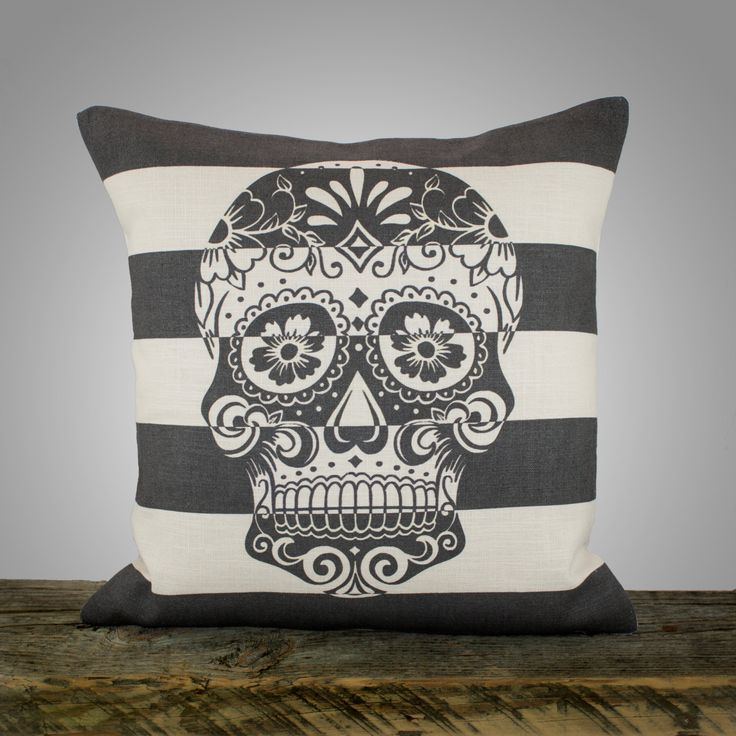 "Sugar Skull Pillow Cover, Black and White Stripe Pillow, Decorative Throw Pillow, Day of the Dead, 16"". $46,00, via Etsy."