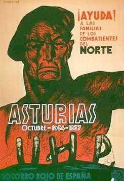 Cartel de 1937 del Socorro Rojo de España, en plena guerra civil, que demuestra la continuidad con octubre de 1934