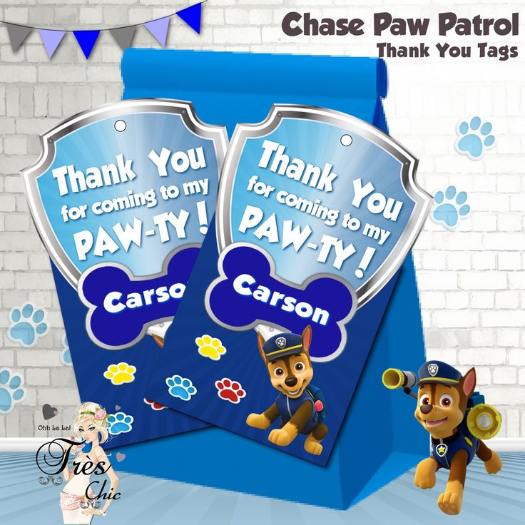 Chase Paw Patrol Thank You Tags,Chase Thank You Tags,Chase party supplies,Chase Birthday Party,Paw Patrol Birthday Party,Chase Thank-you by OhhLaLaTresChic on Etsy