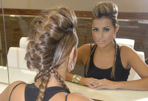 That would be a braid mohawk.French Braids, Hairstyles, Braids Mohawks, Mohawks Braids, Long Hair, Makeup, Beautiful, Hair Style, Faux Hawk