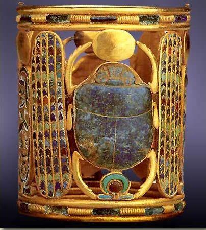 Bracelet of Egyptian pharaoh Psusennes.  Sacred scarab beetle