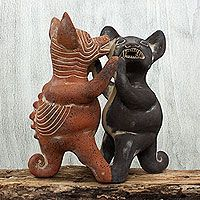 Ceramic figurine, 'Dancing Colima Dogs'