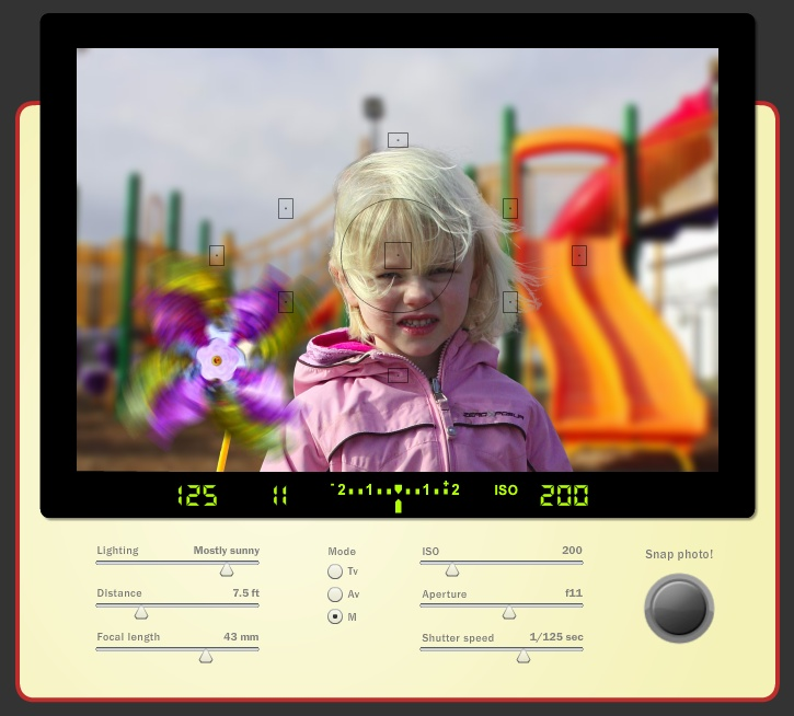 This SLR simulator is a great way to learn the basics of photography. Adjust the white balance, aperture, flash settings, and shutter speed. See results instantly! (http://camerasim.com/camera-simulator.html)