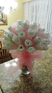 Roses made from diapers
