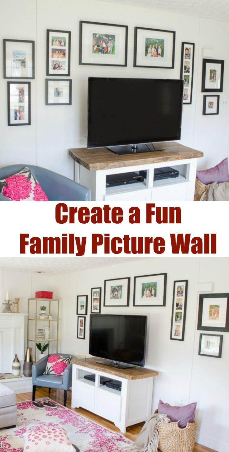 How to create a fun family picture wall gallery in just a couple of hours. I love how the picture wall is around the TV. Great idea!