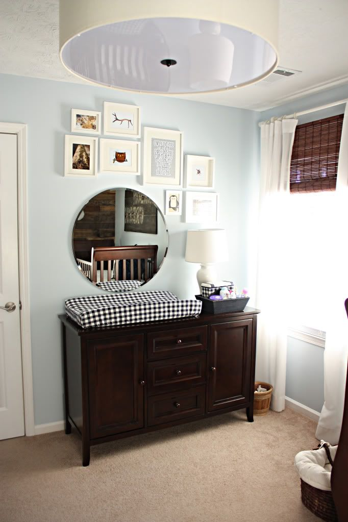 baby boy nursery: Wall Colors, Round Mirror, Frames, Baby Boys Nurseries, Changing Pads, Galleries Wall, Baby Rooms, Mirror Ideas, Changing Tables