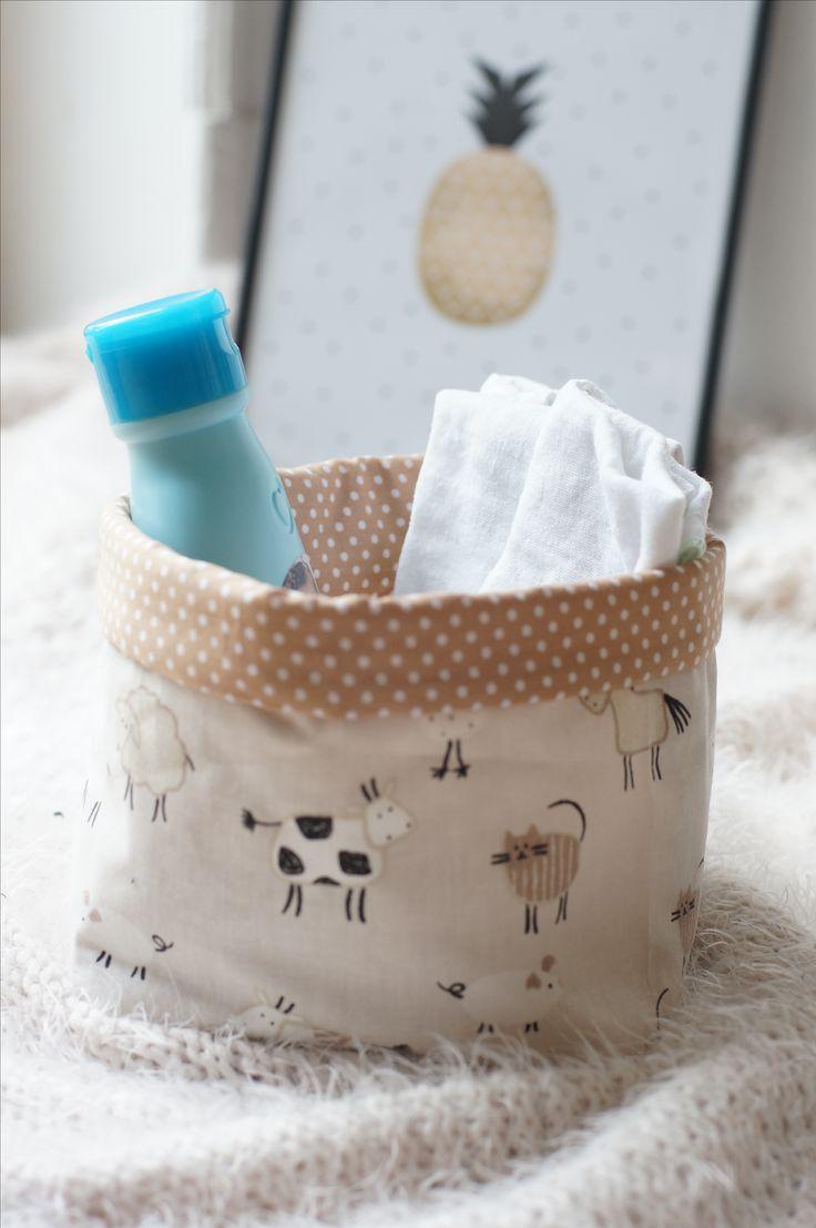 DIY Handgemachter Stoffkorb für Windeln, Spielzeug & Co.