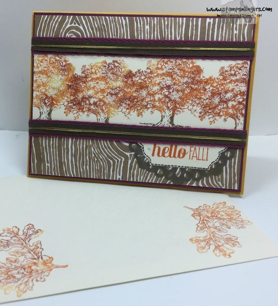 """Stampin' Up! Lovely as a Tree with Into the Woods DSP and 3/8"""" Cotton Ribbon. http://stampsnlingers.com/2015/10/15/stampin-up-lovely-as-a-tree-welcomes-fall-for-the-happy-stampers-blog-hop/"""
