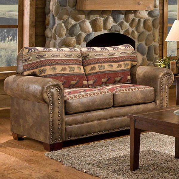 Designed in a rustic Sierra Mountain lodge style, this brown loveseat gives your home a warm, woodsy feel. High-density foam-packed cushions provide firm and dependable support, while heavy-duty faux