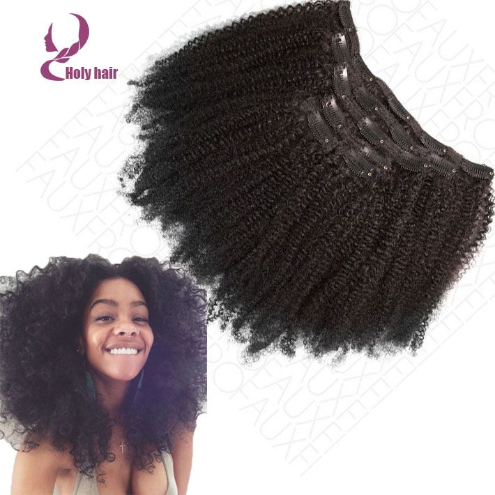 Brazilian virgin kinky clip ins hair extensions 7pcs/set full head natural  black kinky curly for black women free shipping http://www.aliexpress.com/item/  ...