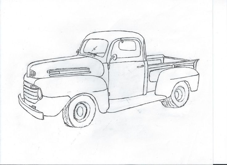 line drawing old ford pickup truck - Google Search