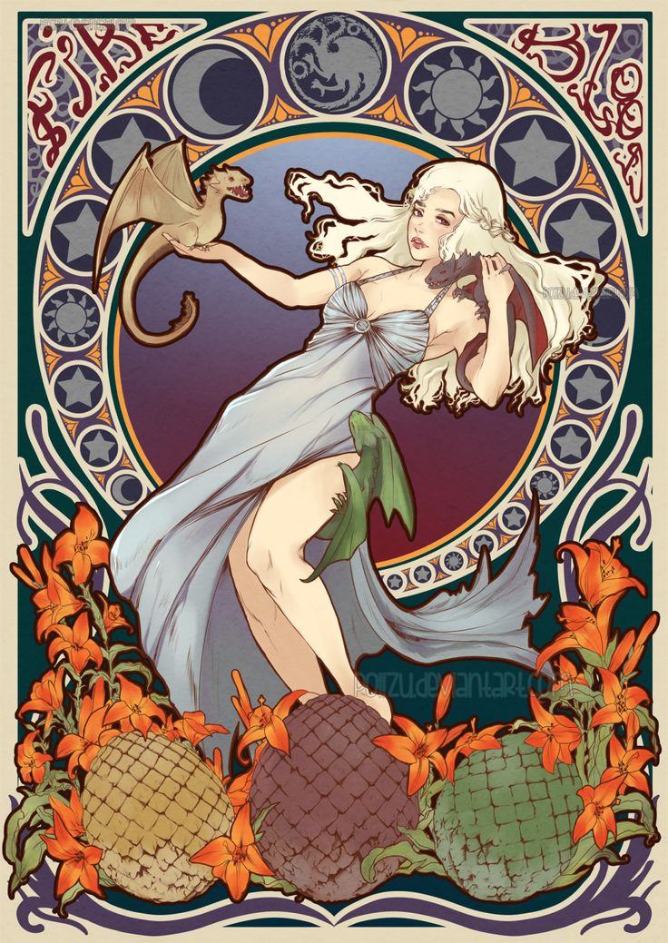 Daenerys Stormborn - Mother of Dragons - Game of Thrones Art Nouveau - A Song of Ice and Fire