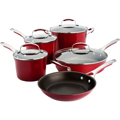 KitchenAid® Gourmet Nonstick 5 Piece Cookware Set- (Red Porcelain)