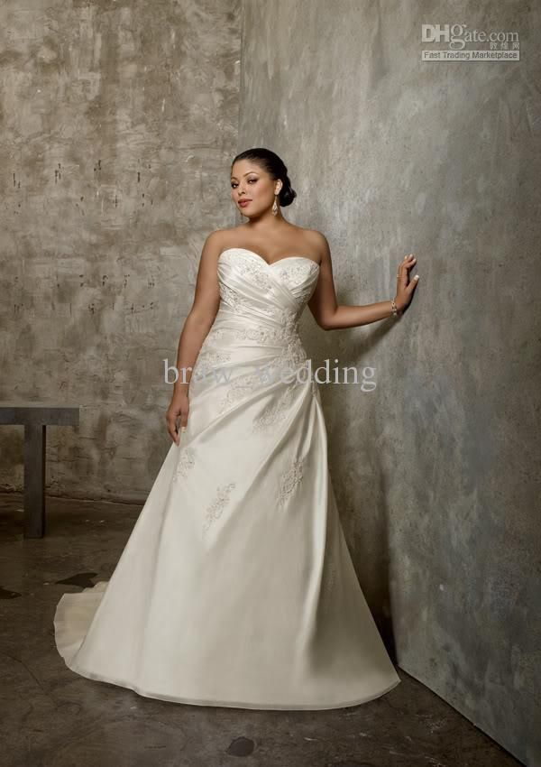 Wholesale Dress - Buy 2013 Custom Made! Glamorous A-line Sweetheart Applique Beading Satin Plus Size Wedding Dresses A543, $135.37 | DHgate