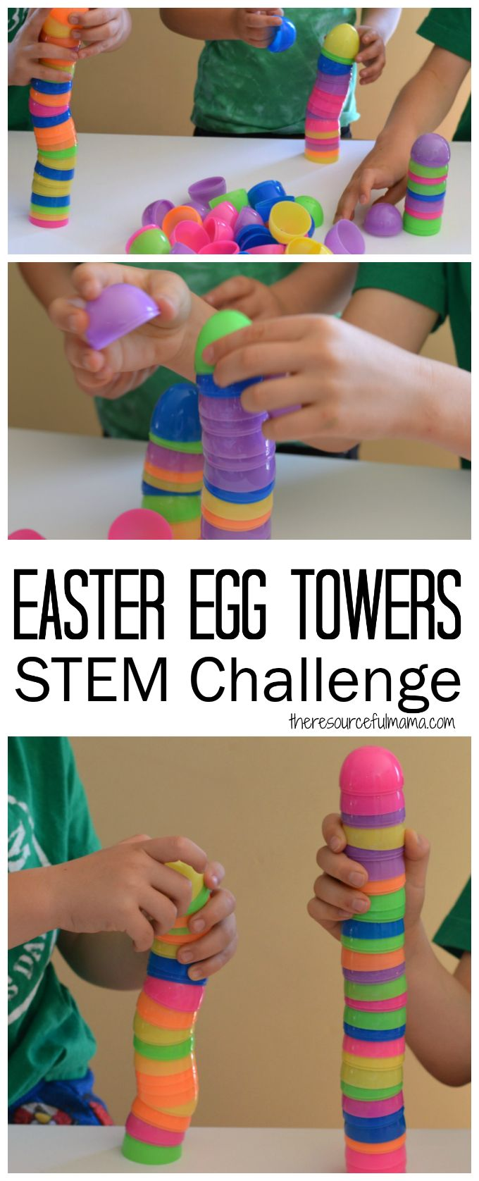 Challenge kids to an Easter egg tower STEM challenge using plastic Easter eggs.