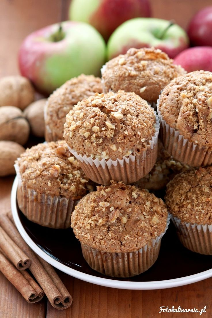 Spicy Apple Muffins with Crunchy Walnut Topping.