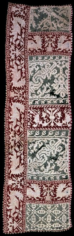 Italy    Altar Cloth (In Two Parts), 17th century    Alternating sections of linen, plain weave; embroidered with silk in the back and two-sided Italian cross stitches and with linen square netting; embroidered with linen in cloth stitches; edged with silk, wrap twining with weft loop fringe  a: 35.1 x 116.8 cm (13 7/8 x 46 in.)  b: 109.9 x 27.5 cm (43 1/4 x 10 7/8 in.)
