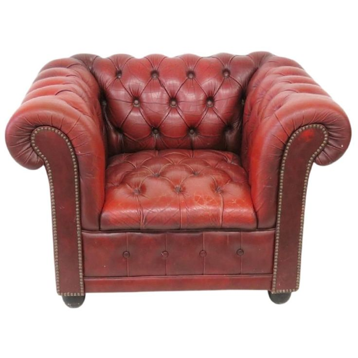 Red Leather Tufted Chesterfield Lounge Chair 1900