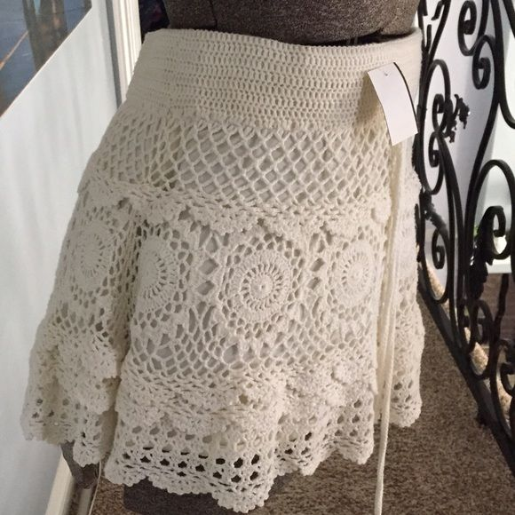 Crochet knit skirt Cream color with waist tie so cute just on time for summer🎈⛱⛱ Skirts Midi