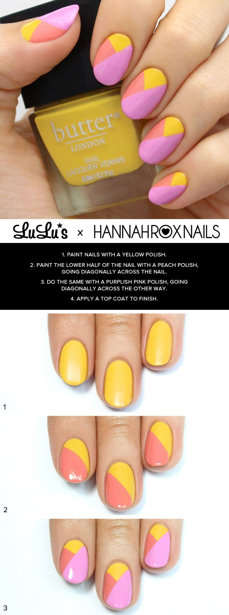 Purple and Yellow Color Block Nail Tutorial - 15 Color Block Nail Art Tutorials for Summer 2015 | GleamItUp