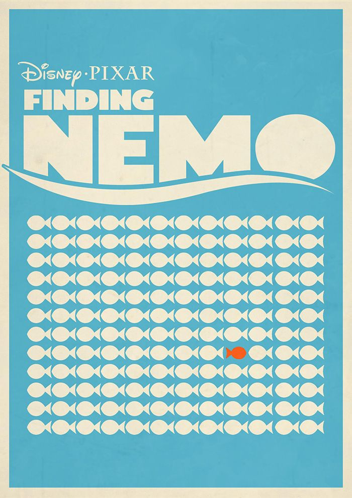 Finding Nemo (2003) ~ Minimal Movie Poster by Rory Adams #amusementphile