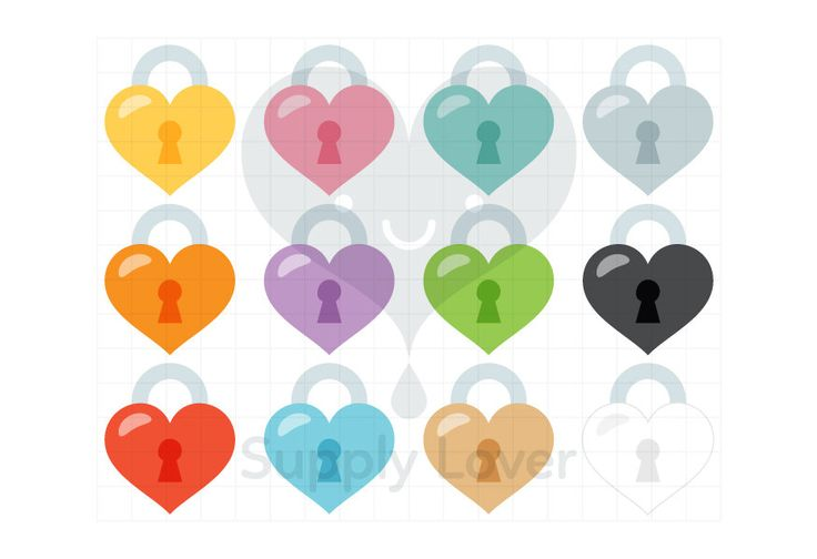 HEART PADLOCK Clip-Art Commercial Use, Heart, Lock, Heart-locker, Keyhole, Heart Shape, Locker, Love, Valentines, 12 Colors - B0029