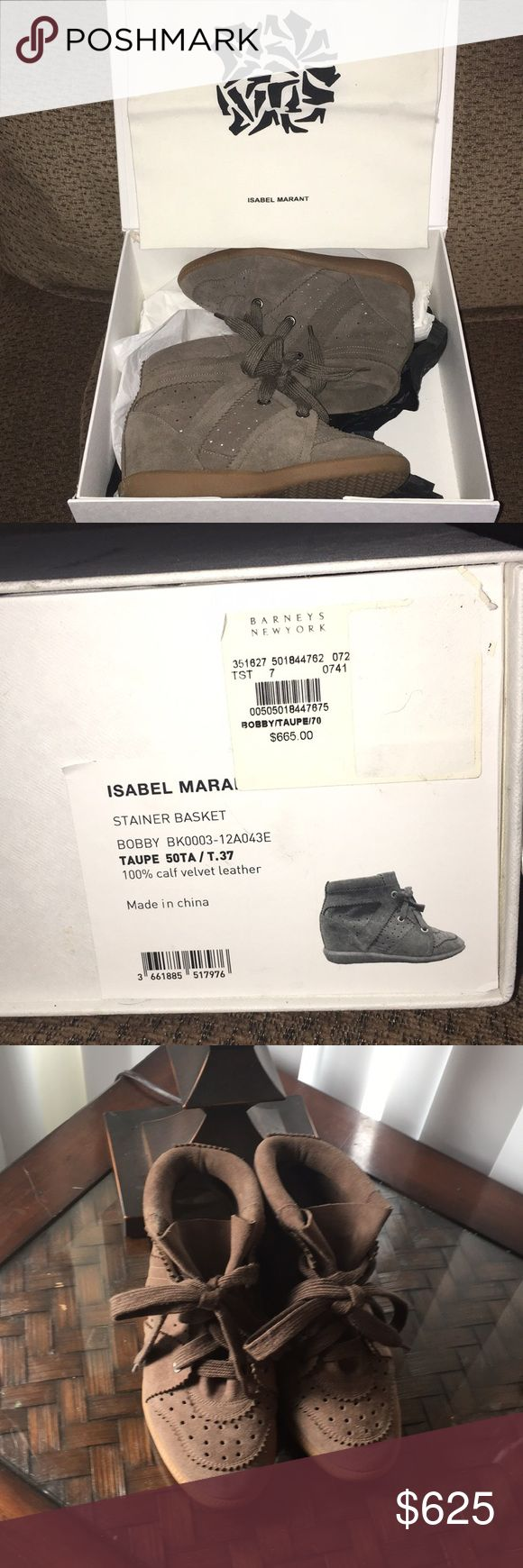"NEW! Isabel Marant Stainer Basket ""Bobby"" Sneakers Taupe, 100% calf velvet. Never worn, new in box.  Very pretty and comfortable. Please let me know if you have any questions! Isabel Marant Shoes"
