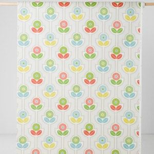 ☆ ☆ ☆ Curtain panel white green blue yellow flowers Floral modern Scandinavian Design Cafe curtain Kitchen valance , runner , napkins , great GIFT ☆ ☆ ☆  Cafe curtain Kitchen valance  Dimensions: Please choose your size form a drop down :) CAFE = Cafe curtains 2 pieces of curtain panels, each 28width LARGER and CUSTOM SIZES ARE AVAILABLE - please convo me Please do not hesitate to contact me if you would like to have other size of this nice pattern item - I am happy to realize your dream...