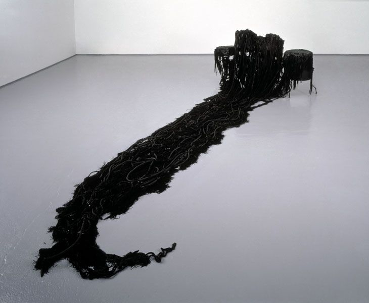 Terence Koh These Decades that We Never Sleep, Black Drums 2004 drum kit, paint, ropes from a ship found after midnight, black wax, plaster, vegetable matter, crushed insect parts, artist`s blood and cum Stool, 50 x 30cm  100 x 163 x 100cm
