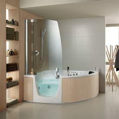 383 - Hjørne badekar i smukt design med indgangsdør