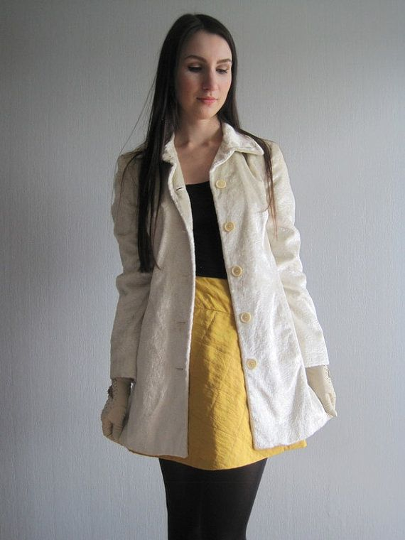 SISLEY Coat White Coat Womens Coat Coat XSS Trench by woolpleasure