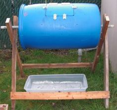 DIY Compost Tumbler made from a recycled 55-gallon plastic food grade barrel.
