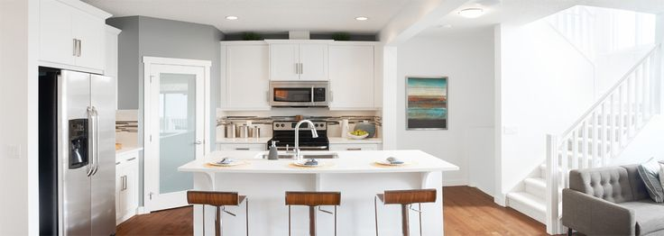 The Clearwater Kitchen in Riversong – Trico Homes – Check out the new homes built by www.tricohomes.com #homebuilder #tricohomes #calgary