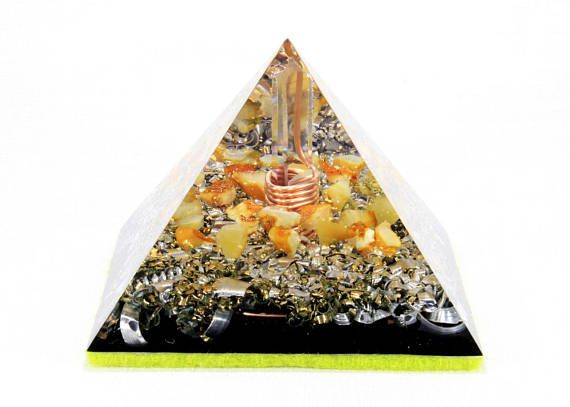 WHITE AMBER Large Orgone Pyramid Reiki Therapy Orgonite