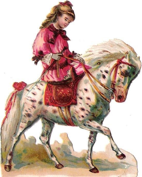 Oblaten Glanzbild scrap die cut chromo Kind child girl Pferd cheval horse fille