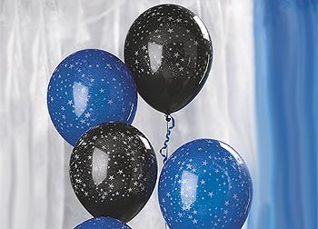 Glitter Star Balloons Are Available In Black Or Blue With