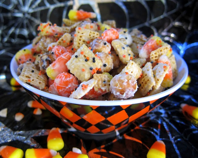 Halloween Chex Mix.  This looks awful for you, but you are supposed to eat stuff like that on Halloween right?