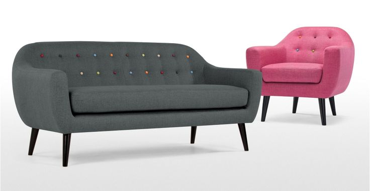 Ritchie 3 Seater Sofa in anthracite grey with rainbow buttons   made.com