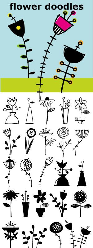 block printing inspiration:Flower Doodles... 15 line drawings, 15 reverse drawings... Lots of looks with these 30 flowers.