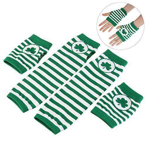 St Patricks Day Shamrock Irish Gloves Fingerless Arm Warmers Unisex 2 Pair NEW #StPatrick