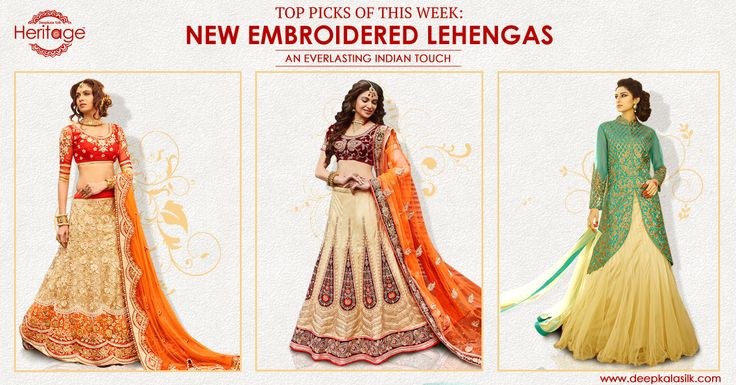 Check out the top picks of this week, awesome #lehengas ensemble by #Deepkalasilk in your favorite colours only at http://goo.gl/M8m1VA!